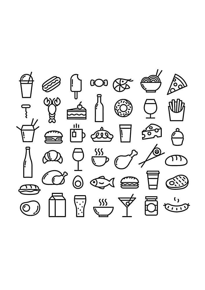 42 иконки разной еды