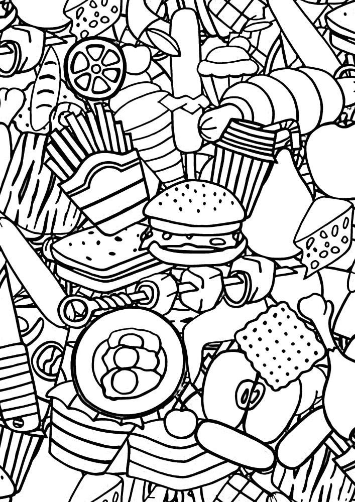 Огромная куча еды - раскраска для расслабления