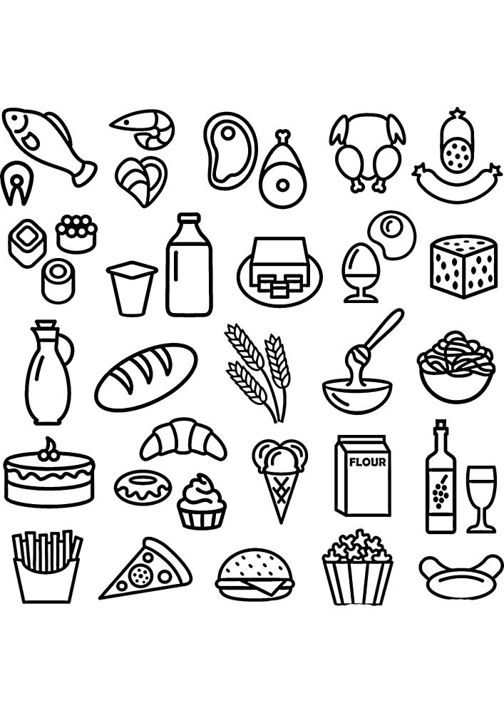 Огромная куча иконок еды в одном изображении