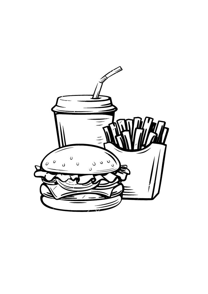 Картошка фри, бургер и холодный напиток - вкусный перекус
