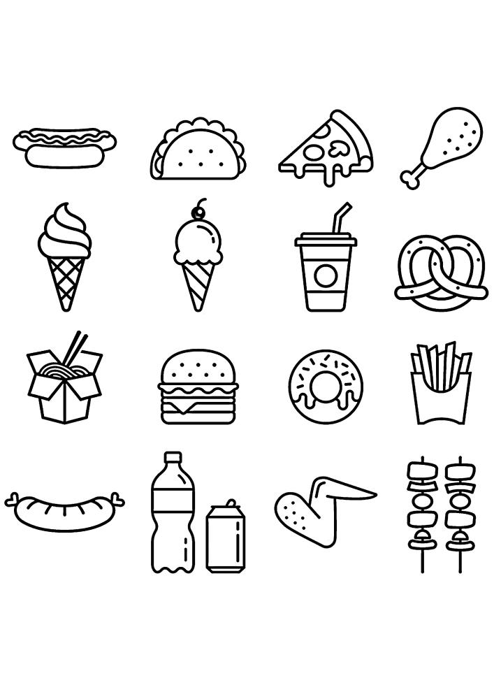Иконки вкусной еды