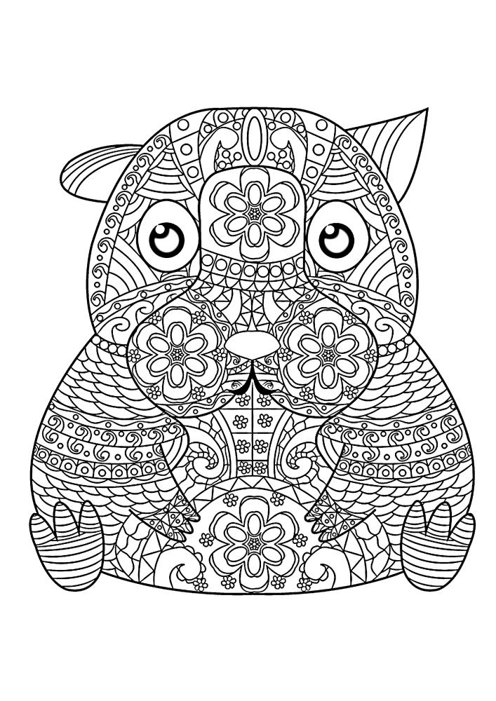 Антистресс-грызун - чёрно-белое изображение для детей 10 лет
