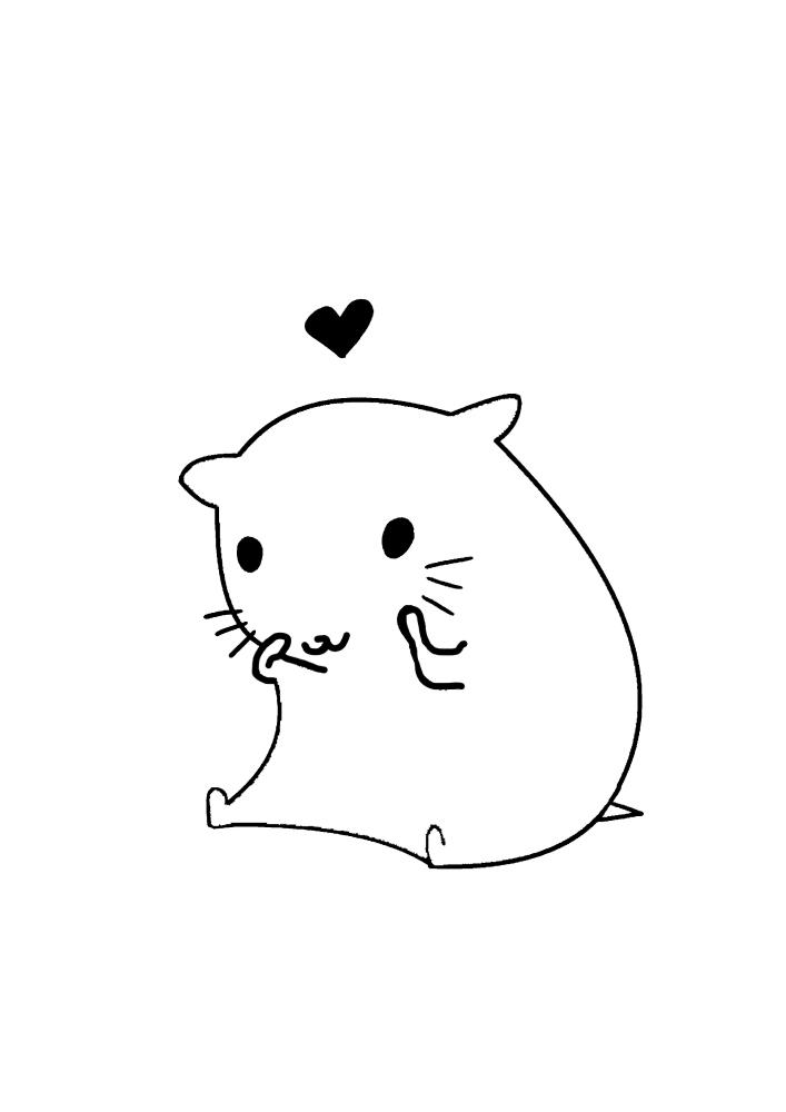 Милый хомяк и сердечко