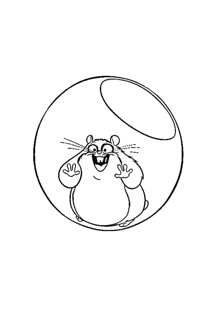 Хомяк в прозрачном шаре - раскраска