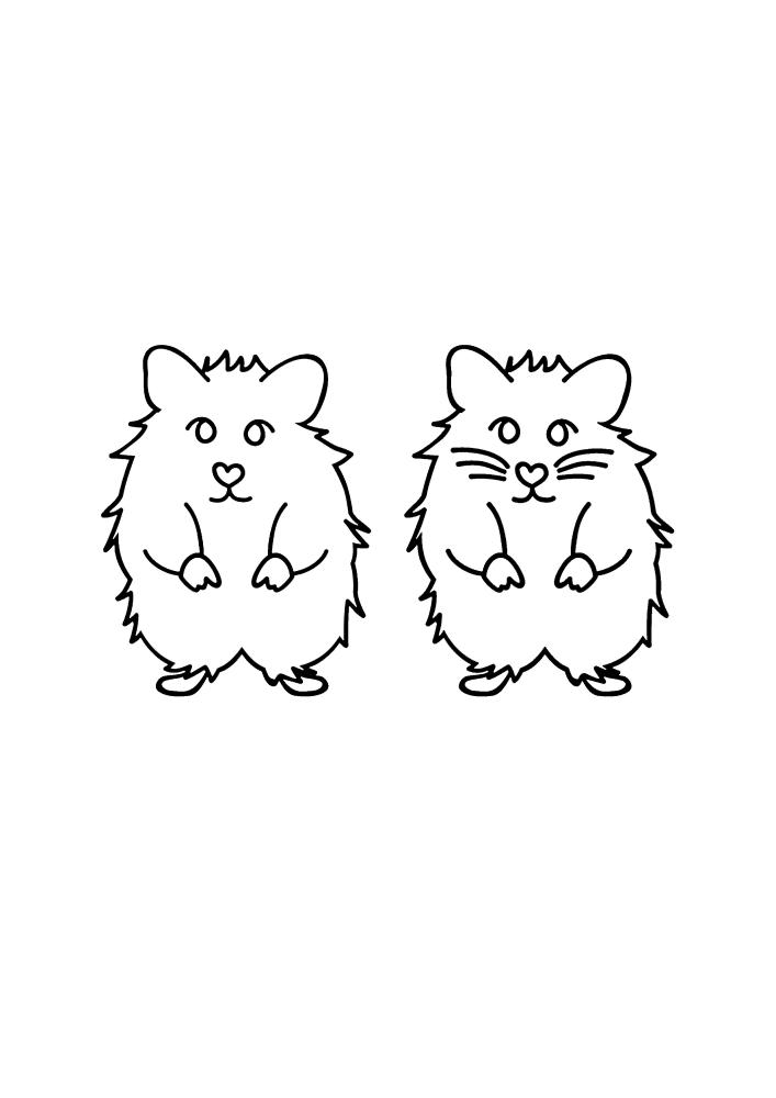 Два одинаковых грызуна - чёрно-белое изображение для реализации идей творчества