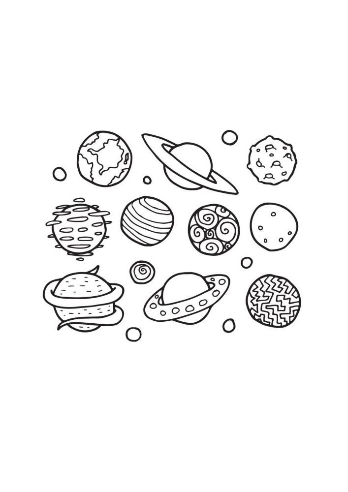 Набор всех планет - раскраска
