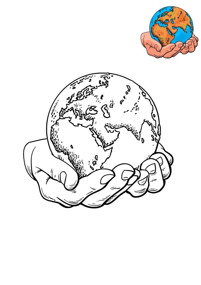 Земля на руках - раскраска с образцом разукрашивания