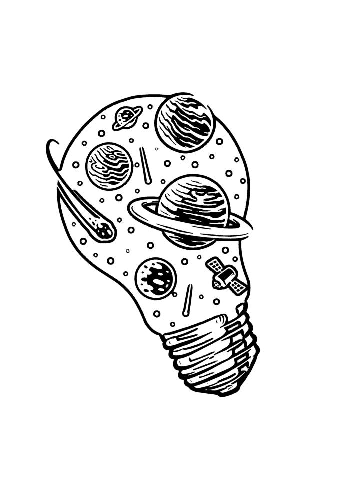 Лампочка с планетами - креативное чёрно-белое изображение