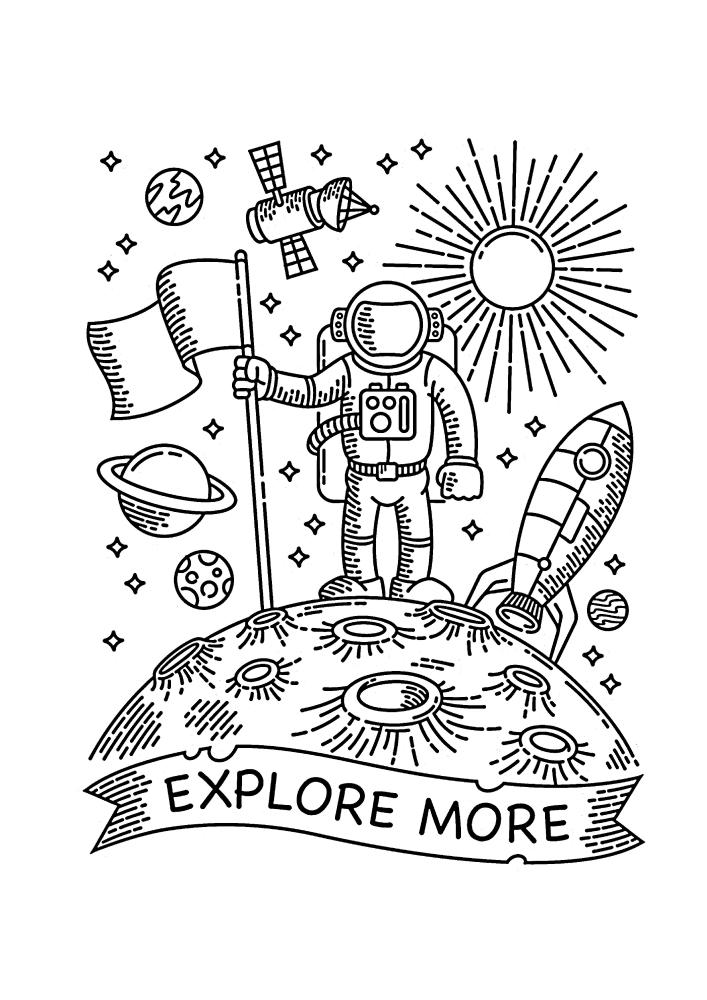 Нил Армстронг на Луне - раскраска для детей