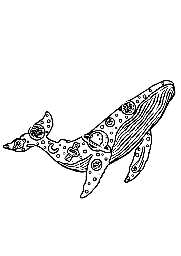 Космический кит - раскраска