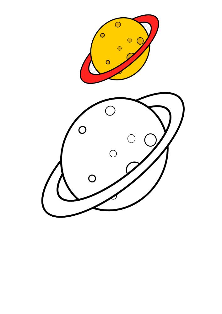 Сатурн - цветная и чёрно-белая раскраска