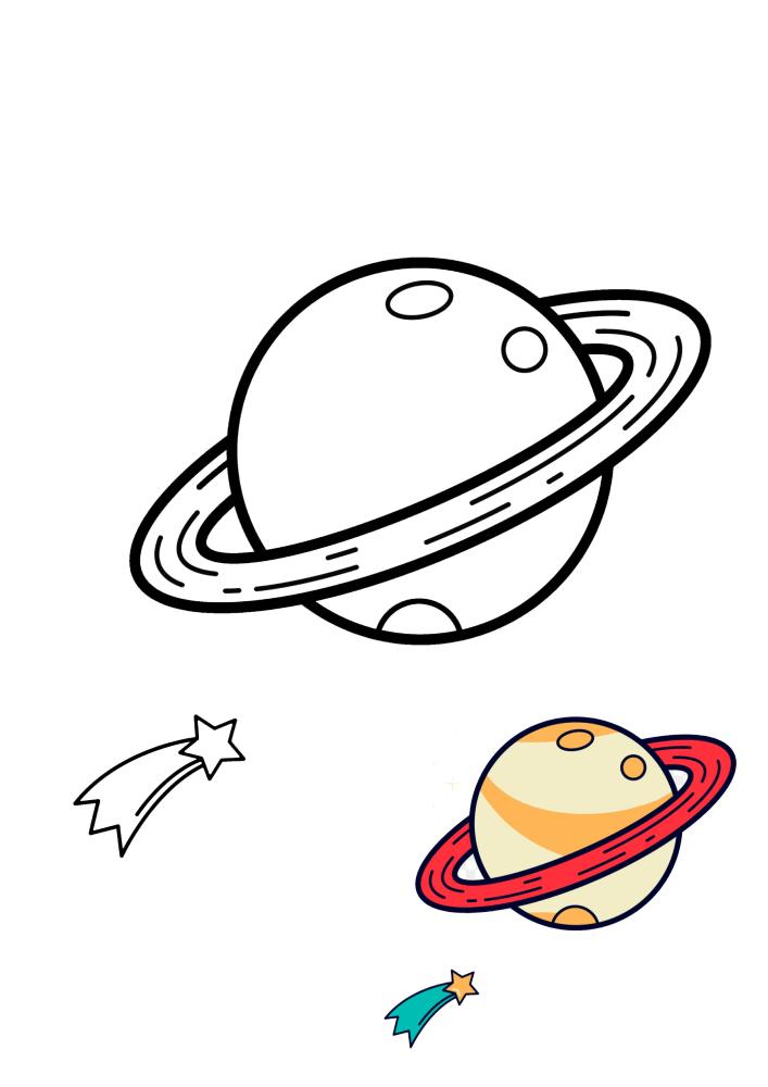 Сатурн - раскраска с образцом разукрашивания для детей