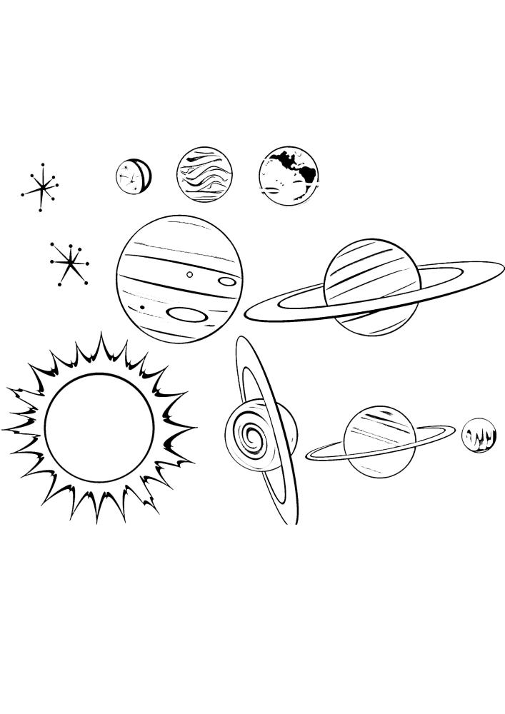 Набор разных планет