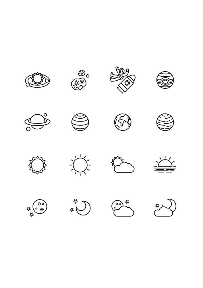 Иконки, связанные с космосом и планетами