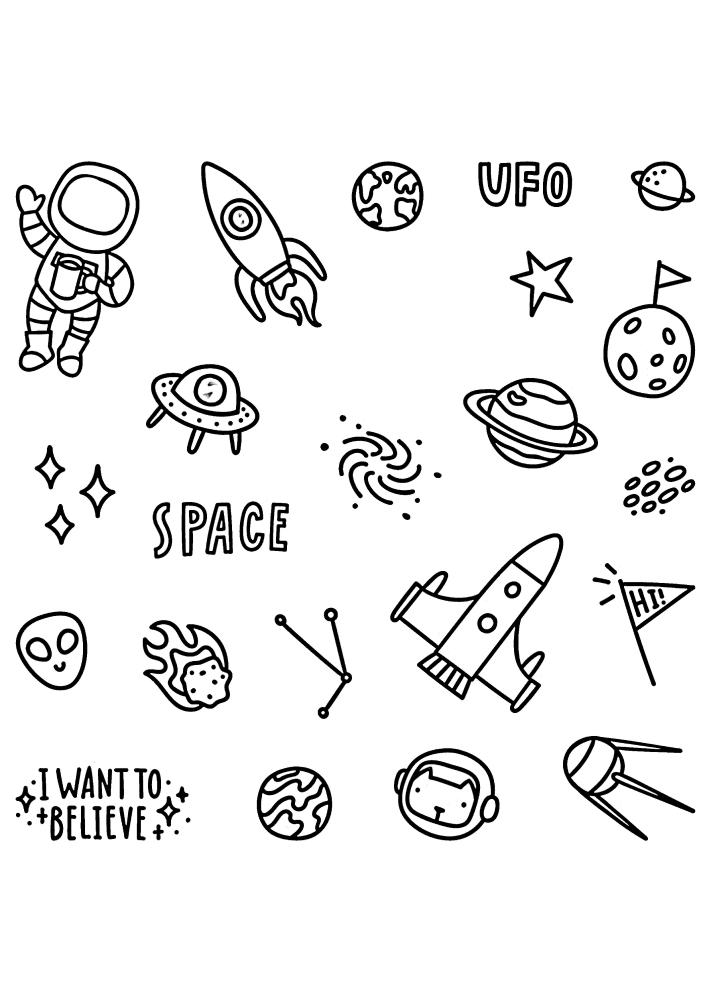 Ещё одна раскраска с космосом