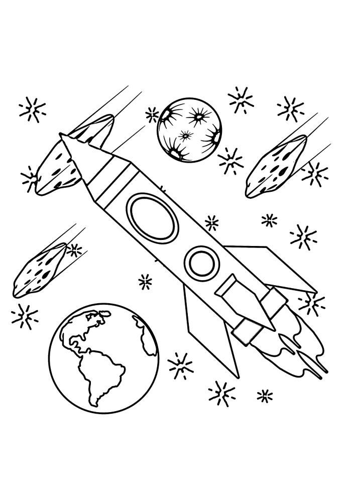 Ракета в космосе пролетает планеты