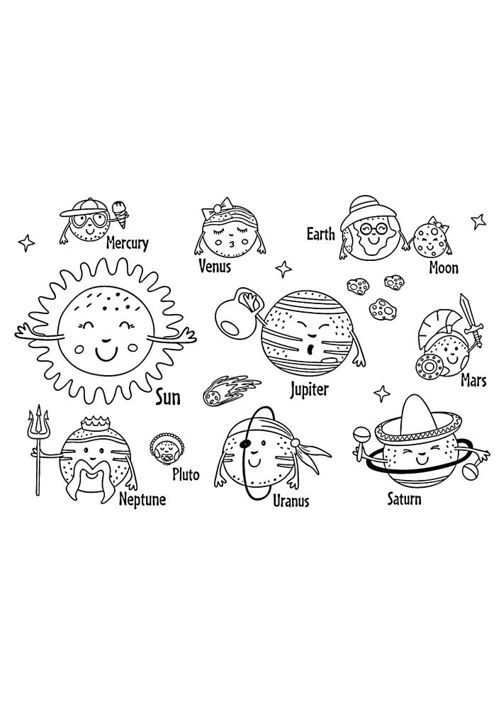 Живые планеты с подписанными названиями на английском языке