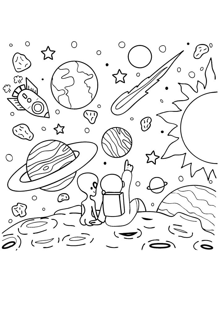 Космонавт рассказывает пришельцу про планету Земля