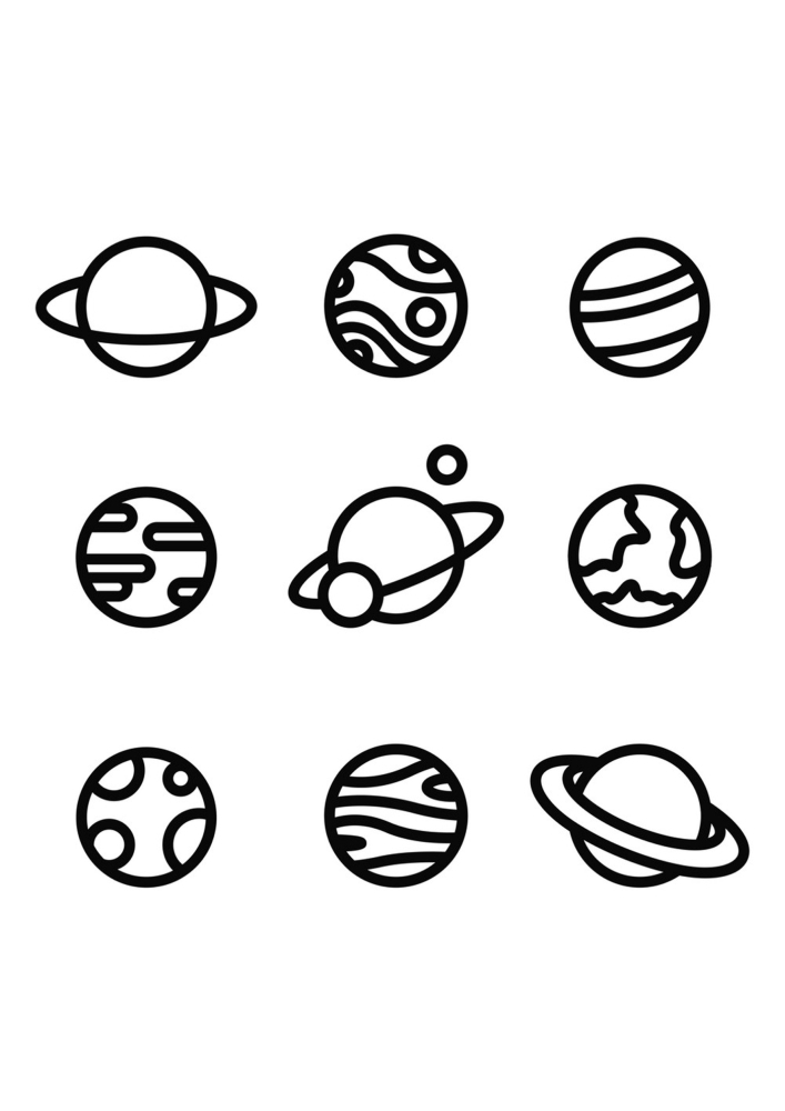 Иконки планет - раскраска
