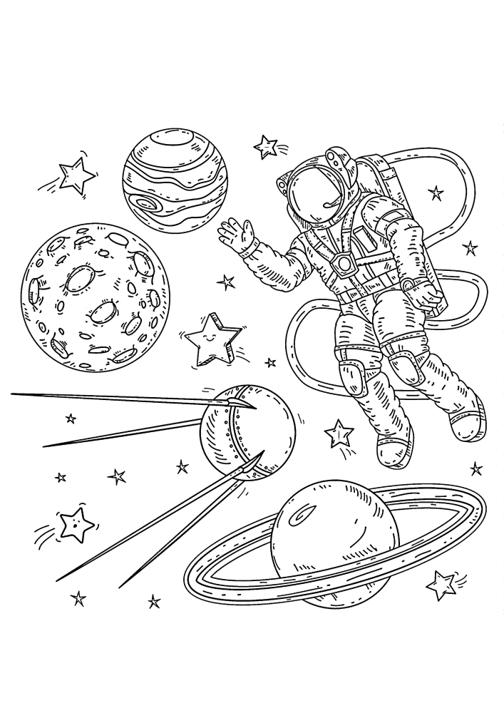 Раскраска космонавта среди планет