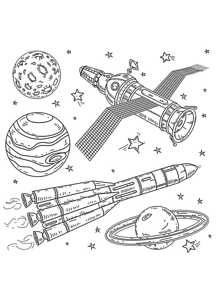 Ракета и спутник в космосе - раскраска