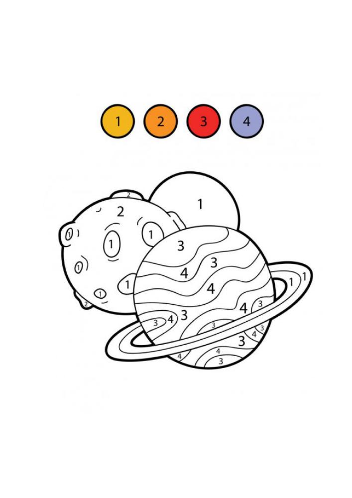 Раскраска планет по цифрам