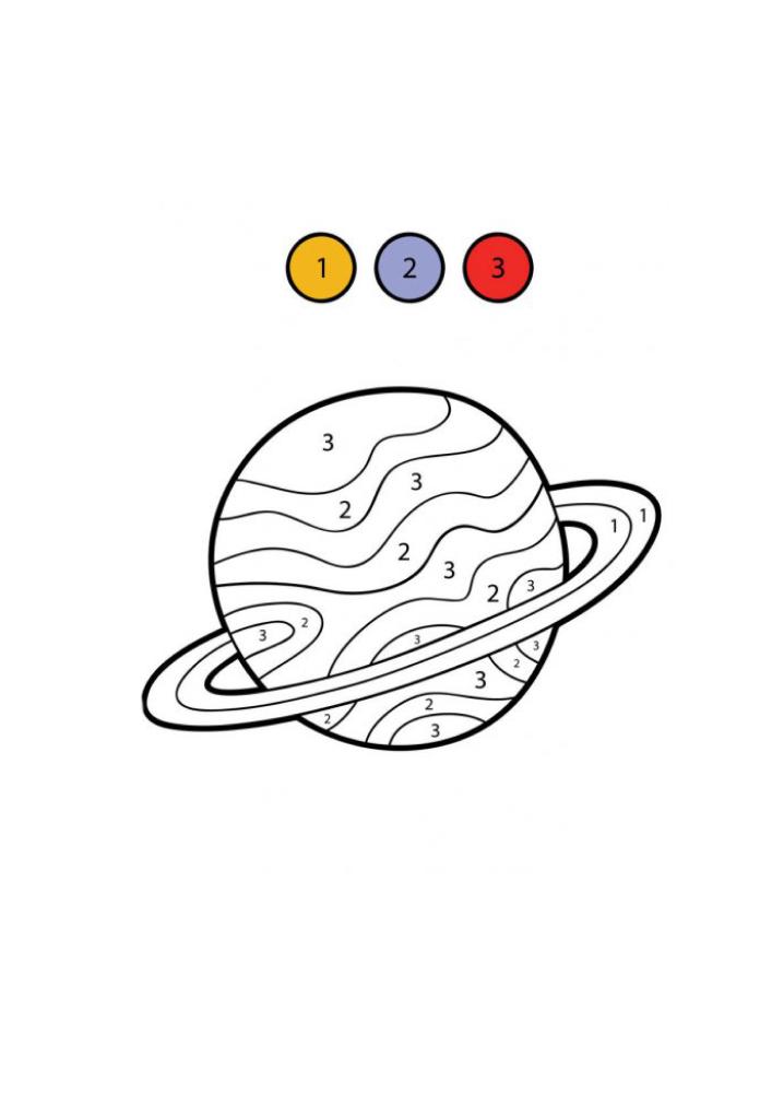 Сатурн - раскраска по цифрам