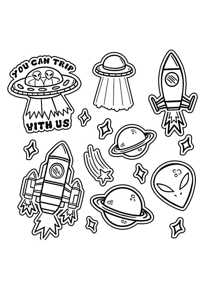 Инопланетяне - чёрно-белое изображение с разными значками