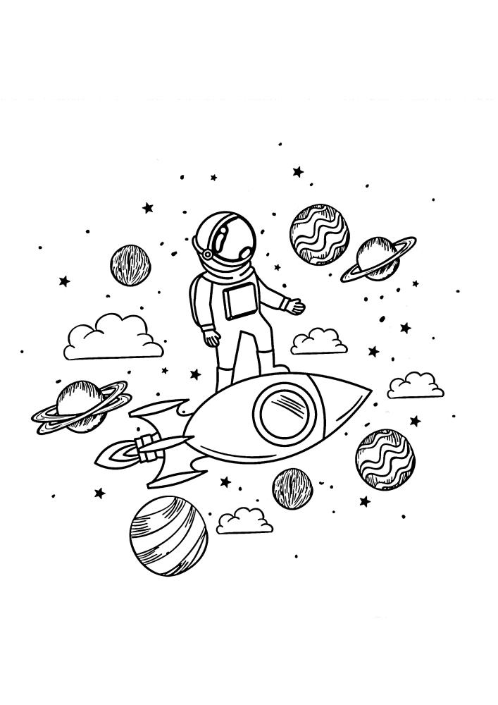 Космонавт стоит на ракете в открытом космосе