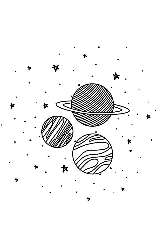 Три планеты в открытом космосе