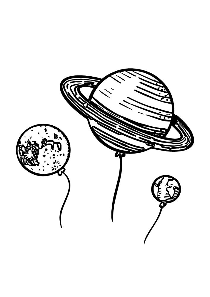 Воздушные шарики в виде планет