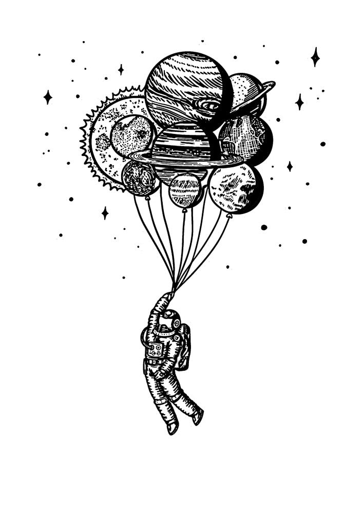 Космонавт на летит на воздушных шарах в виде планет