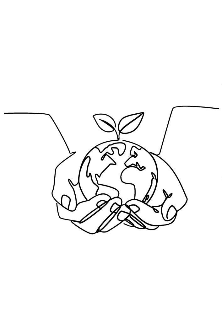 Руки держат Землю с проросшим растением, это значит, что наша планета - это единственное место, пригодное для жизни, и его надо беречь