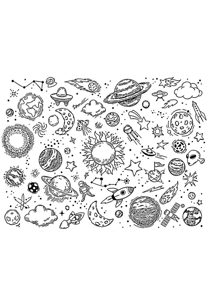 Космос - расслабляющая чёрно-белая картинка