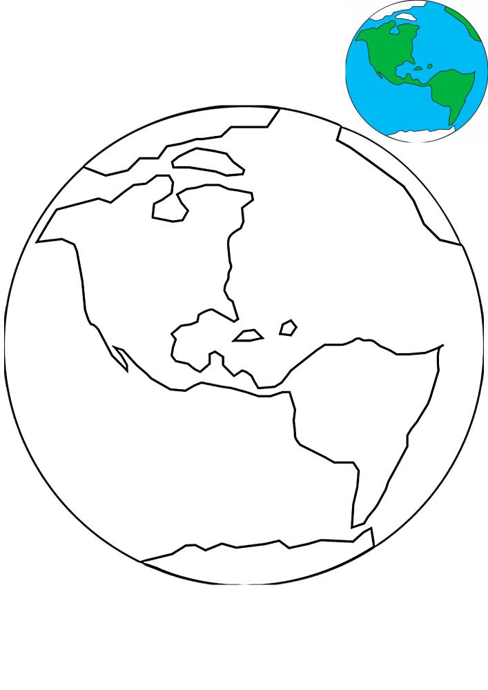 Земля - раскраска с образцом разукрашивания