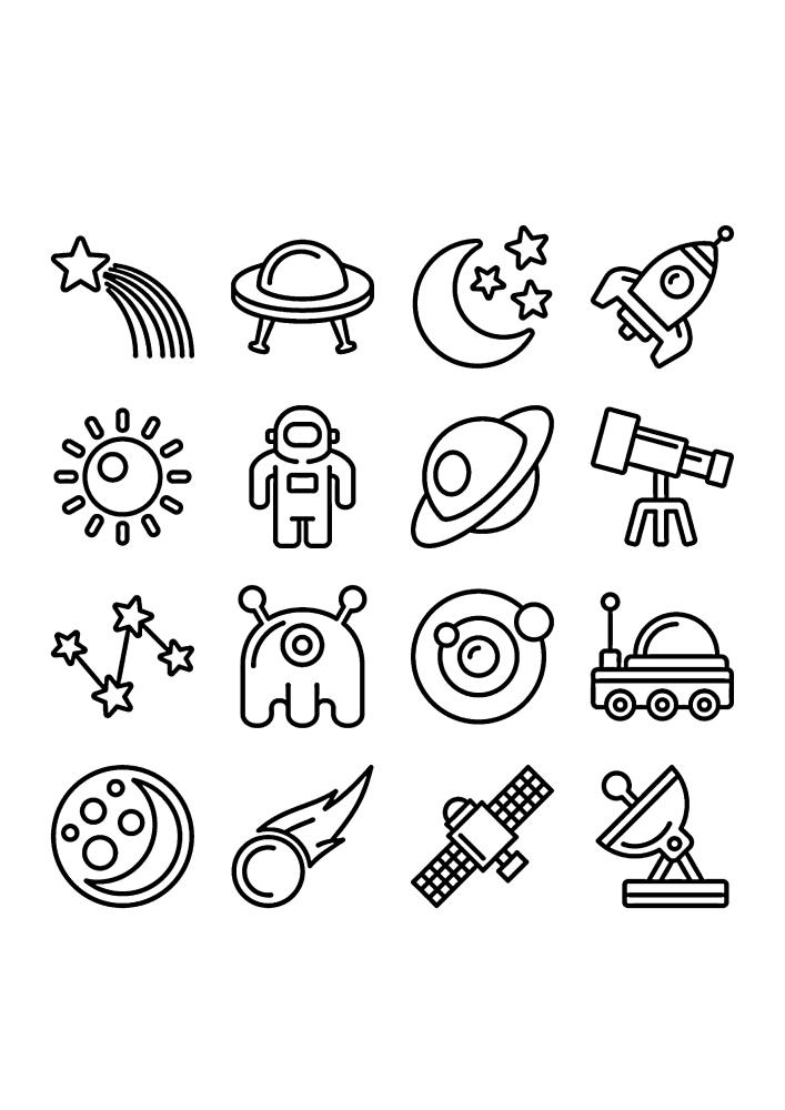 Космические значки - раскраска для детей