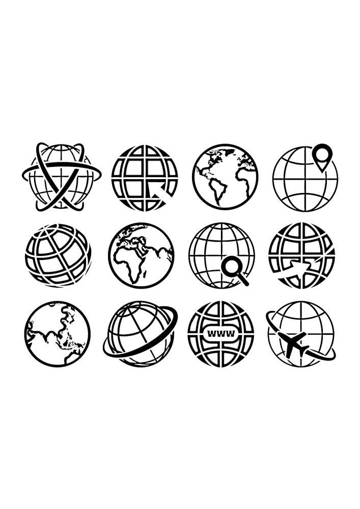 Значки современных приложений, связанных с нашей планетой Землёй