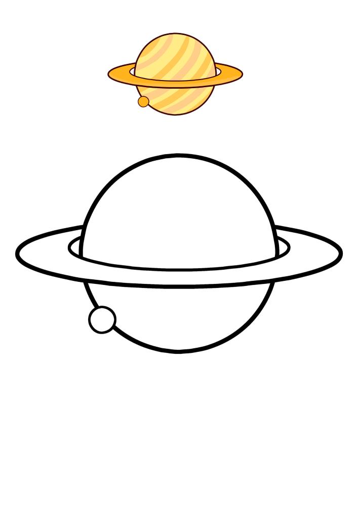 Сатурн - раскраска с образцом разукрашивания