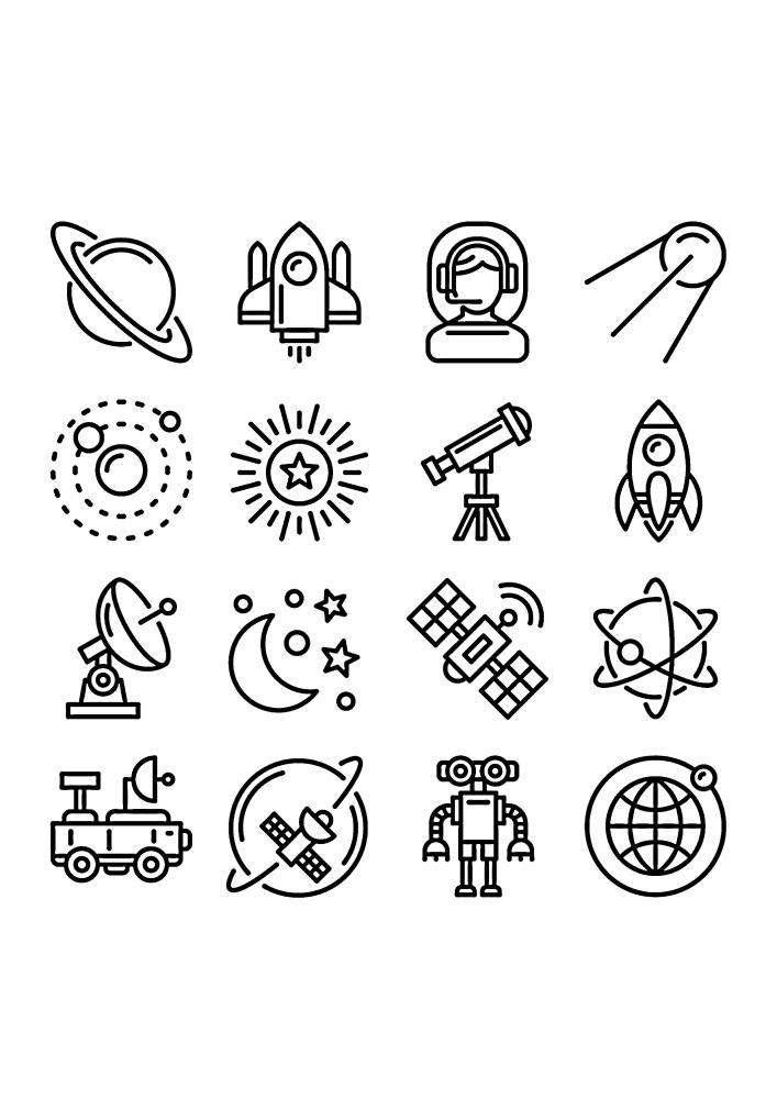 Космические значки - маленькие изображения в одной раскраске - идеальный вариант для малышей