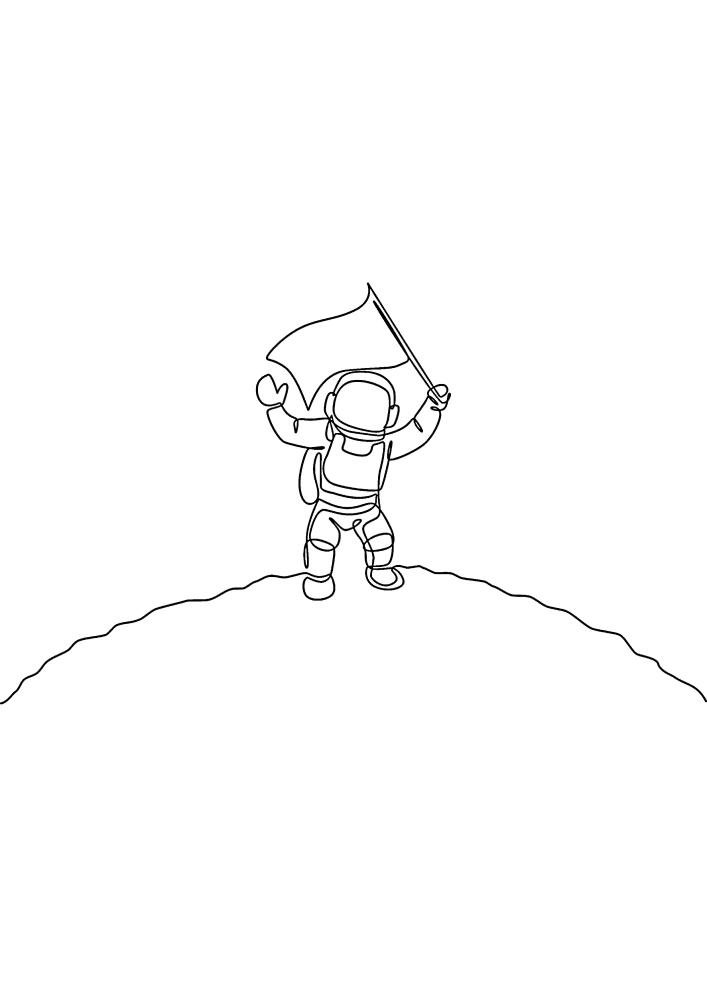 Космонавт приземлился на новую планету и теперь поставит там флаг своей страны