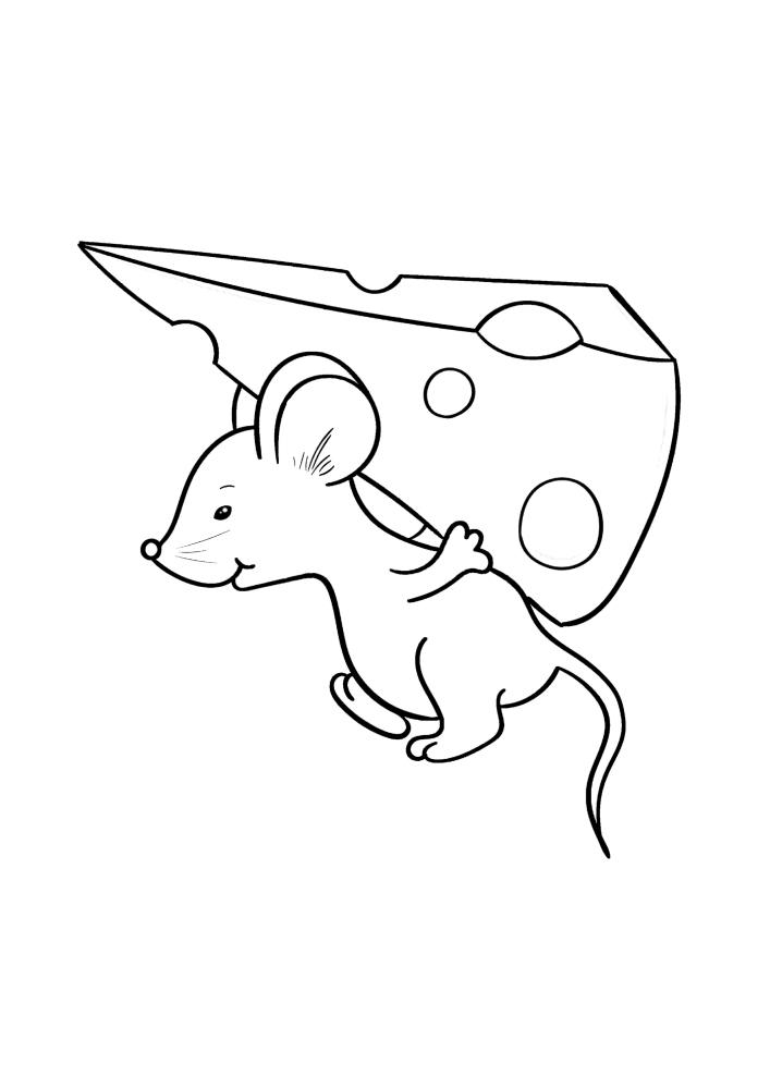 Мышка несёт сыр на спине