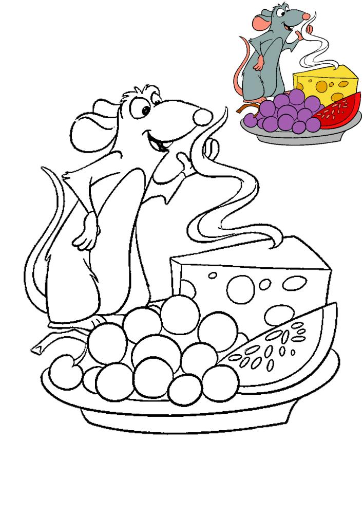 Рататуй нюхает еду - раскраска с образцом разукрашивания