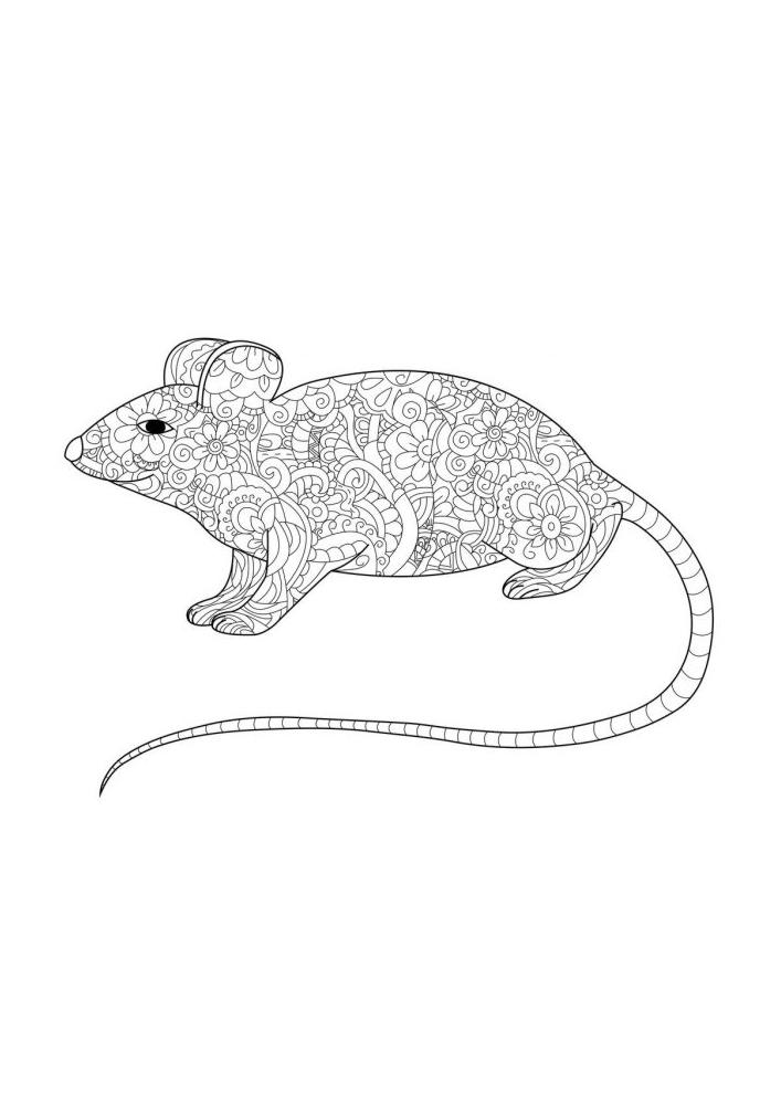 Мышь - антистресс раскраска