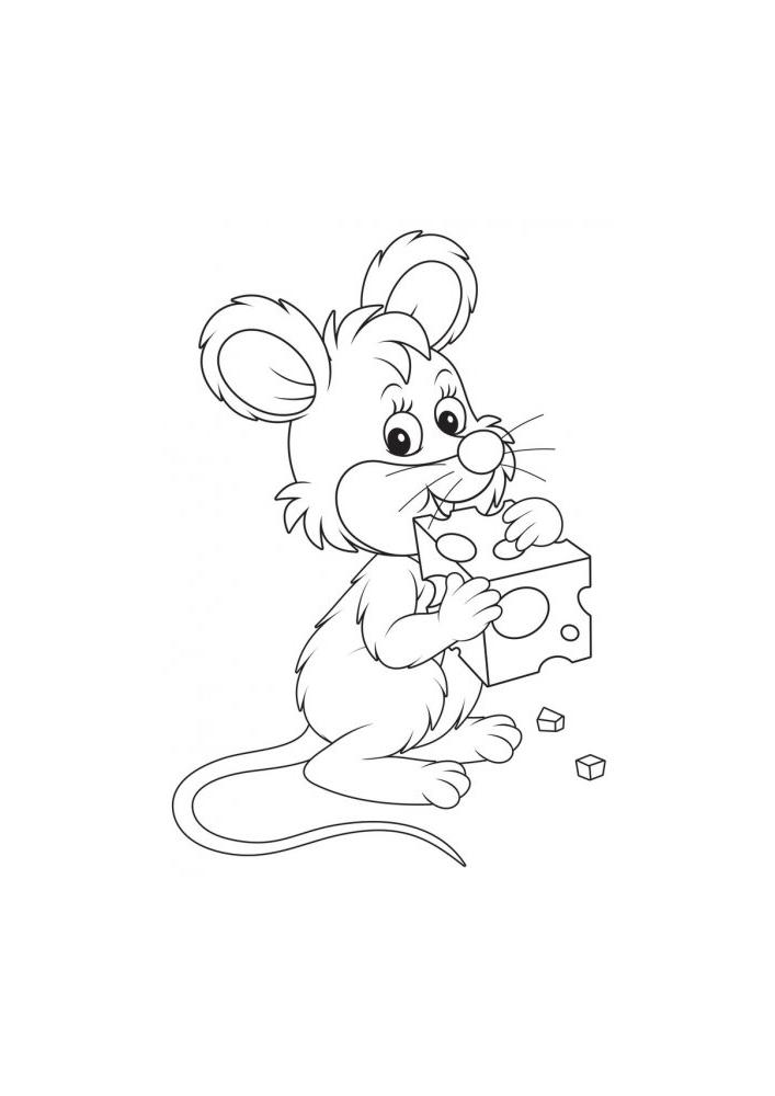 Мышонок ест сыр - раскраска для детей
