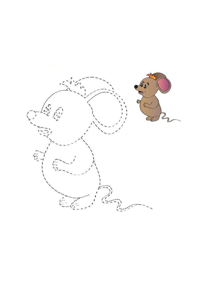 Соедините по точкам, чтобы получить мышь - раскраска