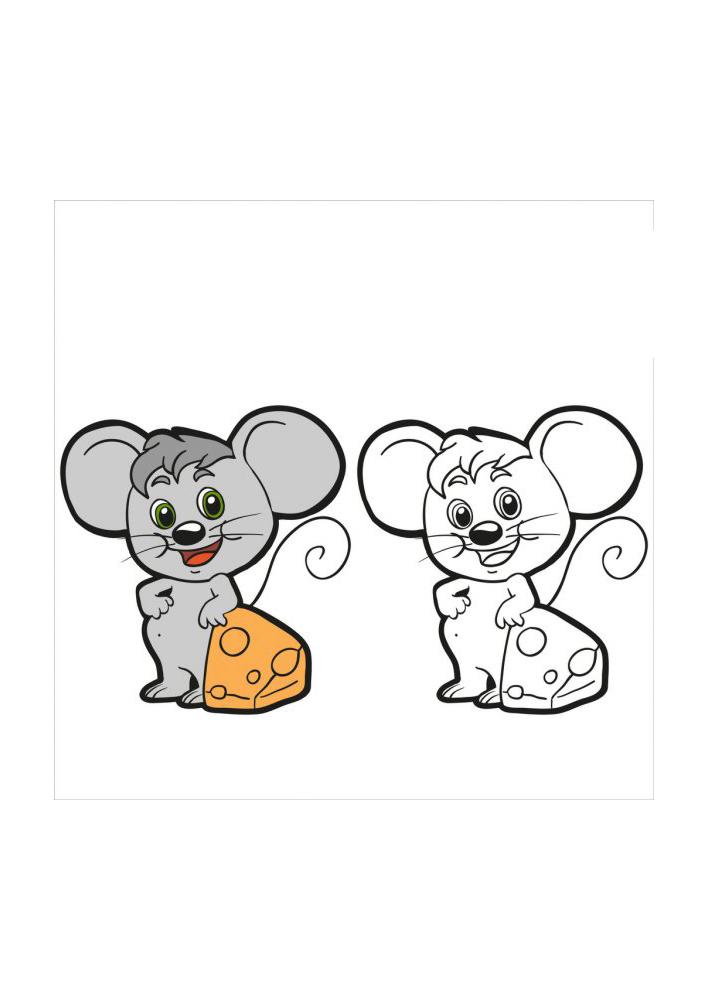 Мышонок - цветное и чёрно-белое изображения в одной картинке