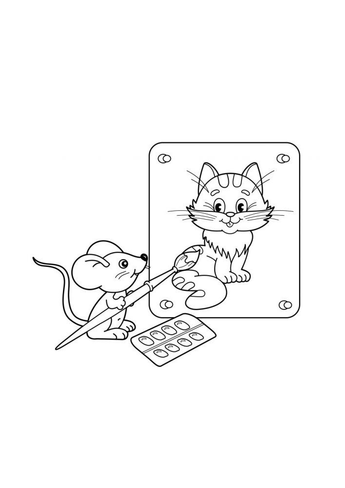 Мышонок рисует кота