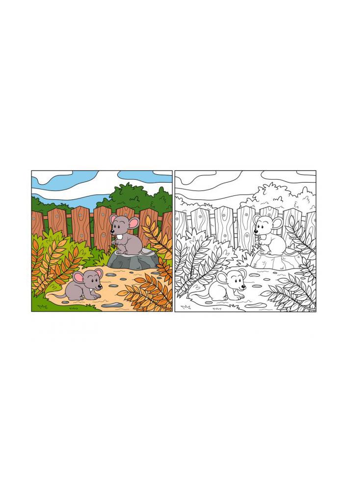 Раскраска с большим количеством деталей - две мышки на природе