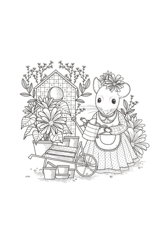 Мышка поливает растения