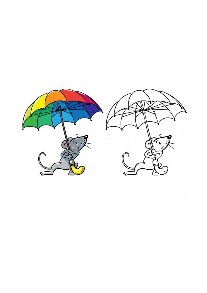 Мышонок прячется от дождя - раскраска с образцом разукрашивания